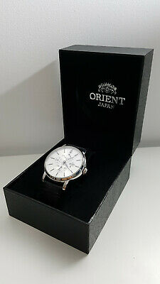 ORIENT 41mm Automatic Power Reserve Watch Leather Strap (EZ09004W)
