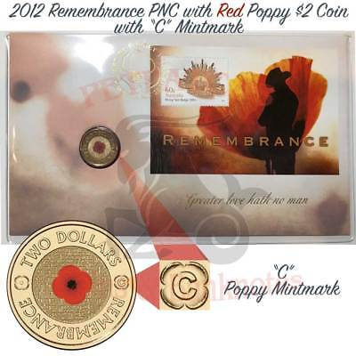"""2012 Red Poppy Remembrance day ANZAC coin. PNC mintmark """"C"""" Limited Issue UNC.,."""