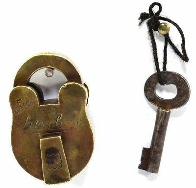 Antique Unique Shape Beautiful Collectible Solid Brass One Key Padlock.i42-20 US