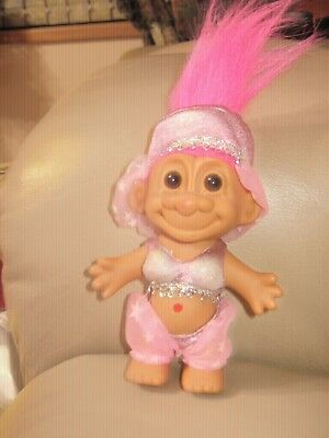 "Vintage  -"" RUSS BERRIE"" Belly Dancer pink Hair 7"" Troll Doll - NEVER PLAYED"