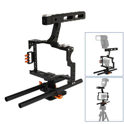 Camera Video Cage Rod + Handle Grip Kit for Sony A7 A7R A7S II A6300 GH4 DSLR