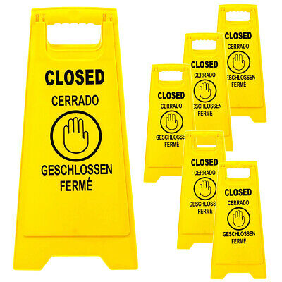 6 Pack Closed Caution Floor Sign Multilingual 2 Sided Fold Up Bright Yellow