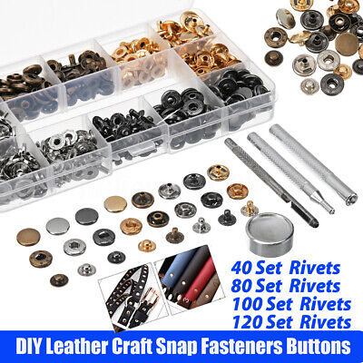 80 Set Snap Fasteners Kit Metal Snap Buttons Press Studs Closures