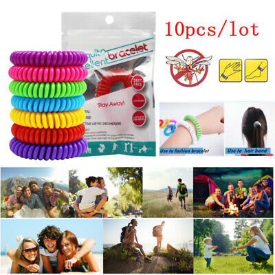 10x Natural Anti Mosquito Insect & Bug Repellent Bracelet Wrist Hair Band Hiking
