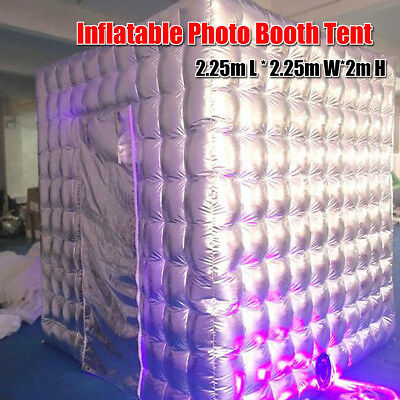 2.25M Inflatable LED Bulb Air Photo Booth Tent Cube For Party Weddings