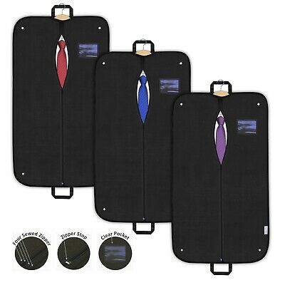3x Suit Covers Garment Bags Dress Clothes Black Breathable Travel Carriers