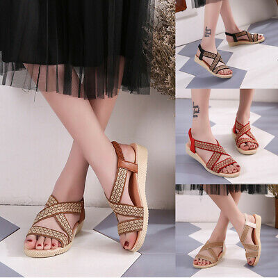 2019 Womens Ladies Flat Low Wedge Sandals  Summer Holiday Beach Flat Shoes Size