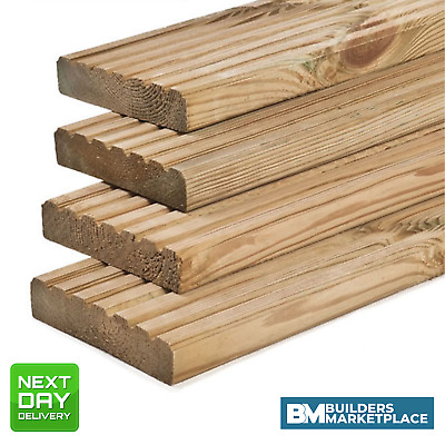 """Treated Timber Decking Boards Pressure Treated 6"""" 32x150mm (28 x 140mm act)"""
