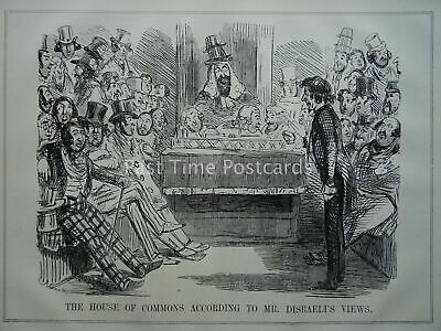 London MR DISRAELI'S VIEW & THE HOUSE OF COMMONS Original 1847 Victorian Print