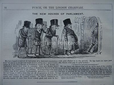 London THE NEW HOUSES OF PARLIAMENT Original 1847 Victorian Print