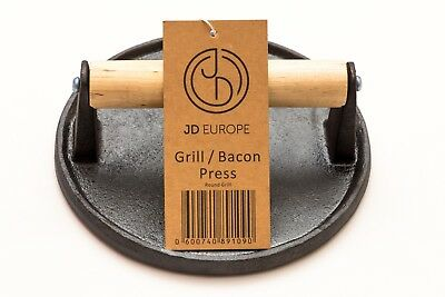 Cast Iron Grill/Bacon Press Round Shape 0.9 kg weight D 18cm x H 7cm.