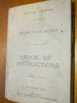 Rare 1921Edition- Vic Rail Rolling Stock Branch. Book of Instructionsmanual