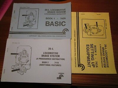 Three separate editions ofCon Rail 26Lbrake systeminstructional manuals