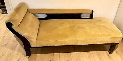 Antique Victorian Mahogany Chaise Longue In Mustard Velvet Upholstery