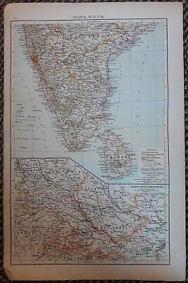 1900's colonial empire Cassell's world atlas sheet - India South & North West