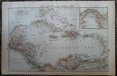 1900s colonial empire Cassells world atlas sheet - Central America & West Indies
