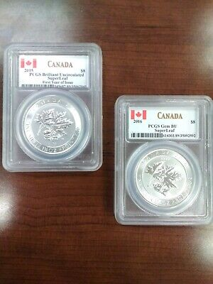 Lot Of 2 1.5oz Silver Canadian Maple SuperLeaf First Year 2015 and The 2016 BU