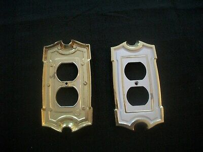 Vtg American Tack & Hardware(SA) Brass~WHITE~Double Gang Outlet Cover