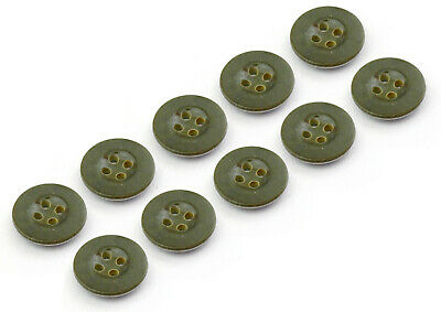 10 Olive Drab Green Military Plastic Buttons 16mm Polish Army Teepee Tent Poncho