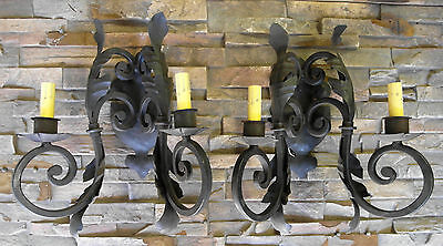 Large Pair 1920S Style Wrought Iron Spanish Revival Home Black Wall Sconce Lamp