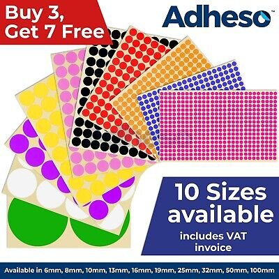 Adheso ANY SIZE Coloured Dot Stickers Round Sticky Dots Adhesive Circles Labels