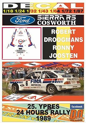 Decal Ford Sierra Rs Cosworth R.droogmans Ypres 24 Hours R. 1989 Winner (01)