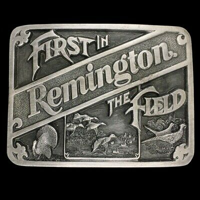 Vtg 1989 NOS First In The Field Remington Rifle Deer Hunting Belt Buckle