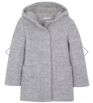 ** Mintie Mint Velvet Girls Grey Marl Paddington Coat Age 8 Years