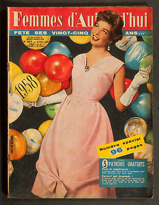 'femme D'auourd'hui' French Magazine Dress Pattern Birthday Issue 24 April 1958