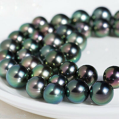 "Natural Rainbow Black Sea Shell Pearl Loose Bead strand 15""AAA Beautiful 8mm"