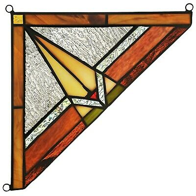 """Mission Tiffany Style Stained Glass Corner Window Panel 8"""" Home Decor"""