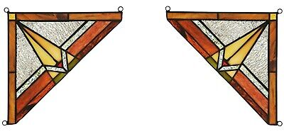 """Set of 2 - Mission Tiffany Style Stained Glass Corner Window Panel 8"""" Home Decor"""