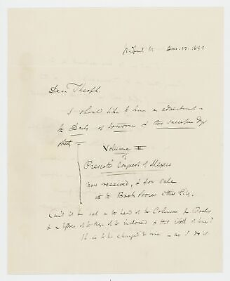 William Hickling PRESCOTT / Two autograph letters signed to Theophilus Parsons