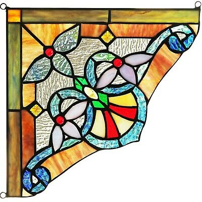 """Victorian Vibrant Tiffany Style Stained Glass Corner Window Panel 10"""" Home Decor"""