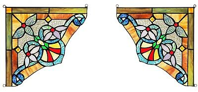 "Set of 2 Victorian Tiffany Style Stained Glass Corner Window Panel 10"" Decor"