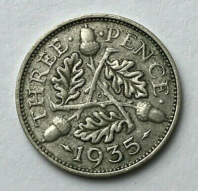 Dated : 1935 - Silver Coin - Threepence - 3d - King George V - Great Britain