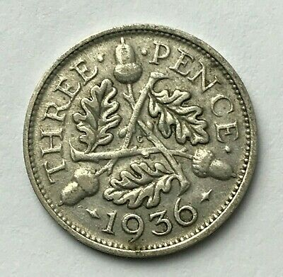 Dated : 1936 - Silver Coin - Threepence - 3d - King George V - Great Britain
