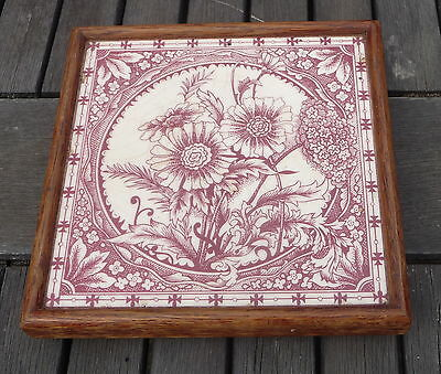 Antique Victorian Aesthetic Pink Floral Tile Wooden Frame Trivet Kitchen