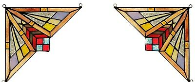 """Set of 2 Mission Tiffany Style Stained Glass Corner Window Panel 8"""" Home Decor"""