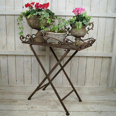 Antique finish butler's tray table with ornate edging Metal Home Gardening