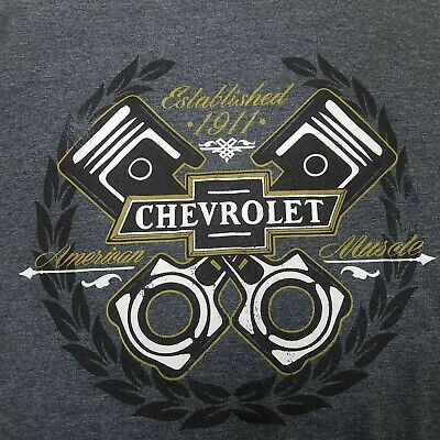 GM Chevrolet Chevy Shirt Tee Gray Engine Muscle T-shirt Established 1911 Large