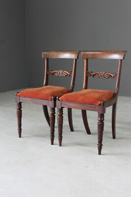 Pair Antique Mahogany Dining Chairs