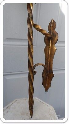 Vintage Italian Tole Gothic Medieval Gilded Sconce Lantern Holder