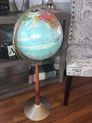 "Globe Vintage Replogle World Nation Metal Wood Axis & Floor Stand 34"" Tall"