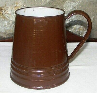 Vintage - Rustic Brown Tankard 2 ½ Pint Enamelled - Well Worn with aged charm