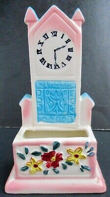 VTG Ceramic Floral Grandfather Clock Wall Pocket Wall Hanging or Free Standing