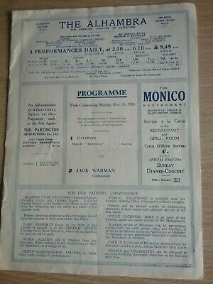 Music Hall And Variety Programme From London's Alhambra Theatre Dated 1926
