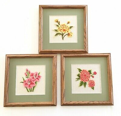3 Floral Flowers Crewel Embroidery Completed Framed & Matted