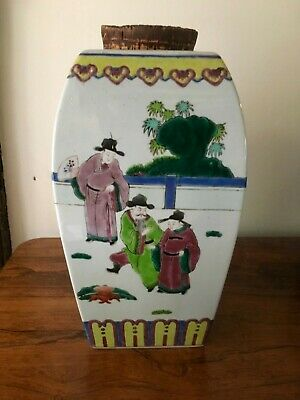 """Antique Chinese polychrome ceramic jar, circa early 20thC with cork lid 12"""" tall"""