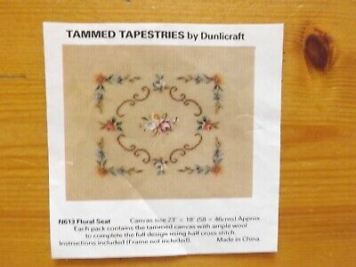 """Vintage Flower Tammed Tapestry by Dunlicraft 23"""" x 18"""" Part completed with wool"""
